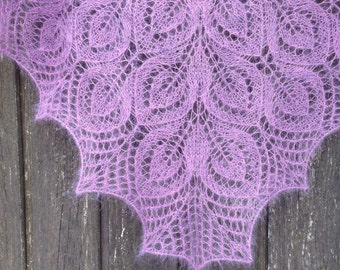 Beautiful hand knitted lace shawl, purple violet lace shawl, hand knit lace wrap