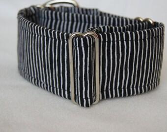 2 Inch Wide Martingale Collar: Greyhound Whippet Lurcher Handmade Dog Collar Stripes