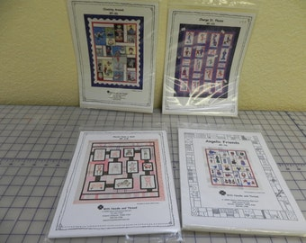 Clowning Around, Angelic Friends, Charge it, Have a Seat applique quilt patterns from With Needle and Thread
