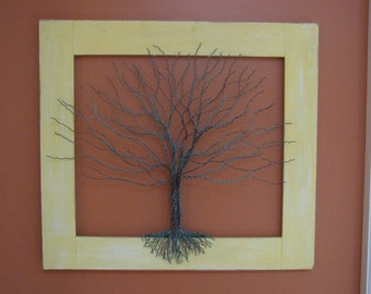 Copper Wire Tree on Yellow Frame