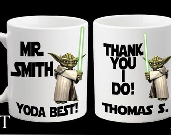 Personalised Star Wars Yoda Best Mug Teacher Thank You Teaching Assistant Head Teacher Birthday School End of Term Gift Present