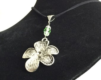 Handmade Silver Tone Flower Necklace, Birthday, Mothers Day, Valentines Day, Gift