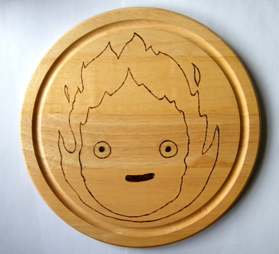 Calcifer Studio Ghibli Wooden Chopping Board - Cutting Board - Howls Moving Castle - Fire Spirit - Kitchen - Flame - Anime - Cosplay - Japan