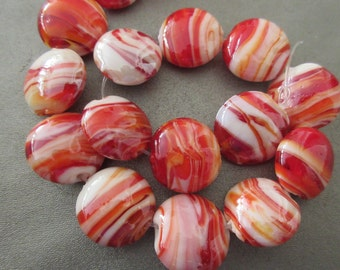 Red Candy Cane Glass Beads 14pcs