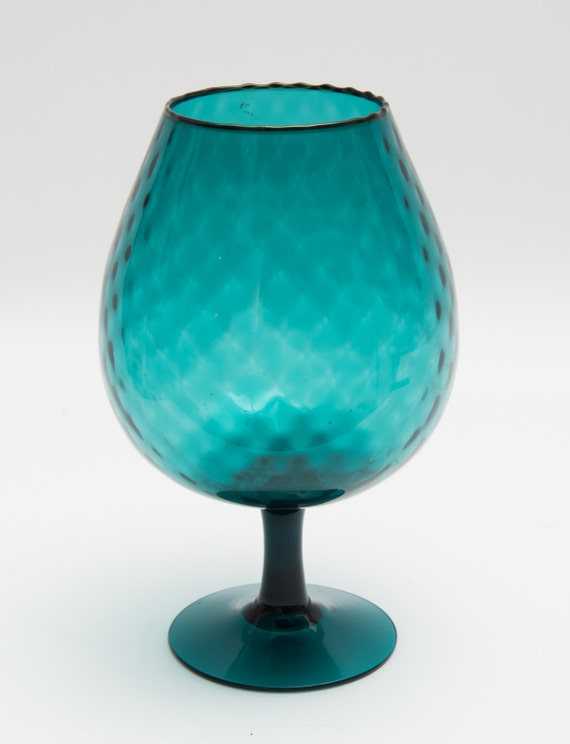 Vintage Mid Century handblown Blue Glass Vase