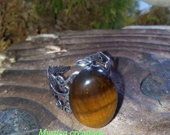 ring adjustable silver and Tiger