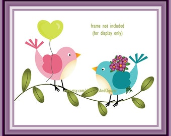 Cute Lovebirds Pink and Blue Birds Printable Art Poster 8 x 10 inch Instant Download Print (1027) Home Wall Art, Baby Kids Room Decor, Gift