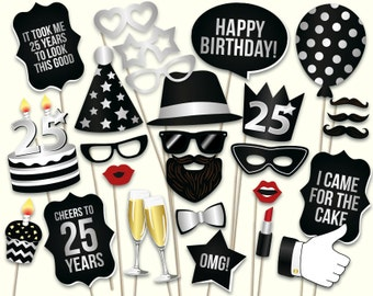25th birthday photo booth props: printable PDF. Black and silver twenty fifth birthday party supplies. Instant download, digital download