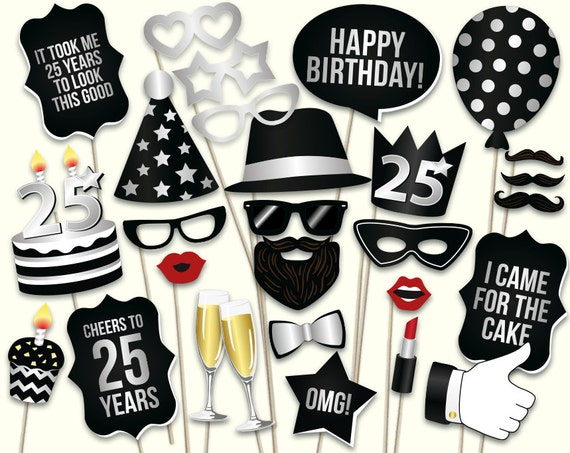 25th Birthday Photo Booth Props Printable Pdf Black And
