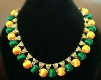 Handcrafted Silk Thread Green Yellow Necklace, indian traditional jewellery, Silkthread Bail Set