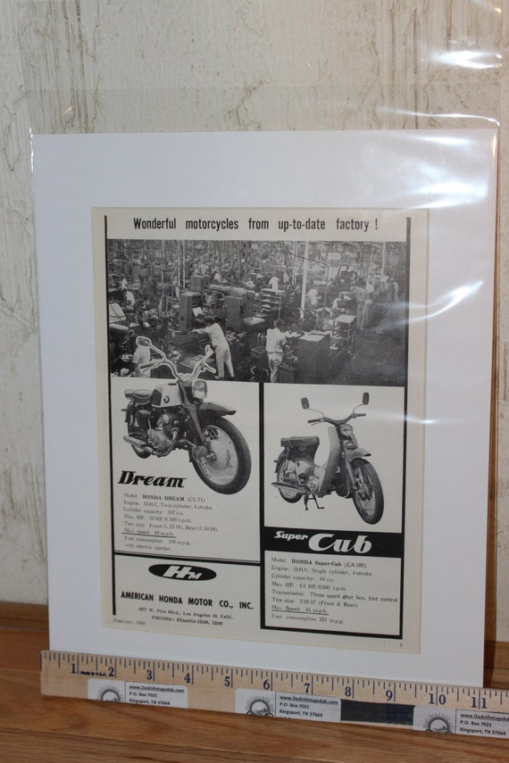"1960 Honda Dream & Super Cub 11"" x 14"" Matted Vintage Motorcycle Ad #6002amot06m"
