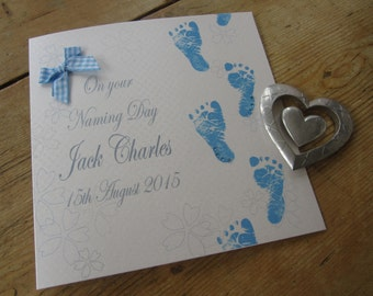 Personalised Naming Day Card - Blue Baby Feet Design PPS81