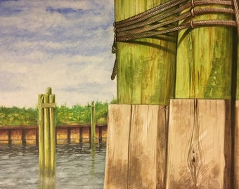 14x17 Original Hand Painted Ocracoke Ferry Dock Heading Home