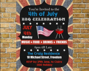 4th of July Invitation, Independence Day Invitation, 4th of July,  BBQ invitaiton, Uncle Sam Personalised and Ready for you to Print. SALE!!