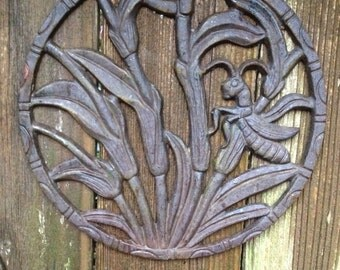 "Wall decor, cast iron medallion, garden art, home decor, outdoor art, 12"""