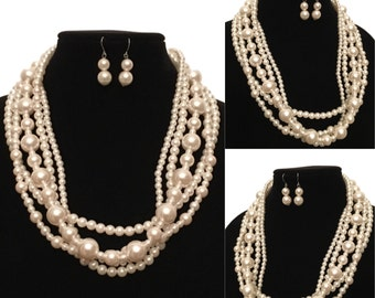 Pearl Layered Statement Necklace & Earring Set