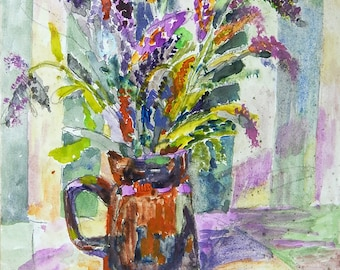 Watecolor painting Bouquet of wild flowers, Art, illustration, print, floral, purple, still life with a bouquet  flowers
