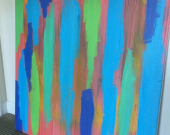 Cool Color Abstract Acrylic Painting