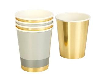 Gold Metallic Paper Cups Set of 8 / Disposable Cups / Shot Glasses /Paper Cups / Party Cup /