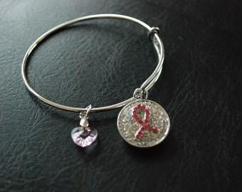 Breast Cancer Awareness Pink Ribbon Crystal Bracelet