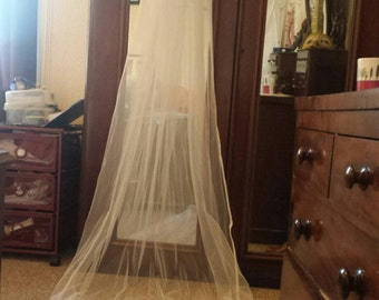 Classic white chapel length veil. 2 tier with satin binding