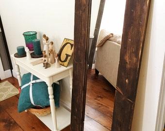 Reclaimed Wood Framed Floor Mirror, Wood Mirror, Dressing Room Mirror, Tall Mirror, Decorative Mirror