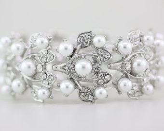 Wedding Pearl Bracelet,Bridal Bracelet Jewelr,White Pearl Bridal Bracelet,Bridal Pearl Bracelet,Bridesmide Wedding Bracelet Jewelry Gift