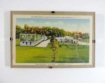 Framed vintage postcard Texarkana camp