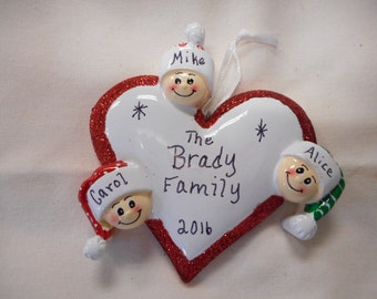 3 family heart ornament// personalized christmas ornament// family of 3 ornament// christmas ornament//personalized