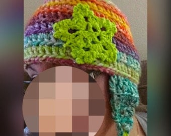Bright colored snowflake hat
