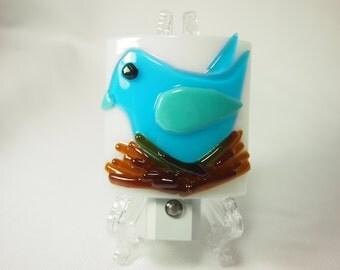 Night Light - Blue Bird Fused Glass