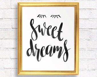 Printable Nursery art, Baby room wall art nursery decor, Kids room decal, Kids print, Nursery decor wall art, baby gift,  Sweet dreams