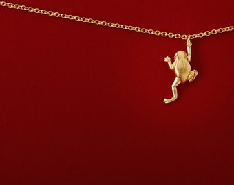 18k Gold Chain. Frog. No Time to Worry