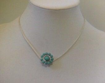 Memory Thread Embellished Turquoise Pendant Adjustable Necklace
