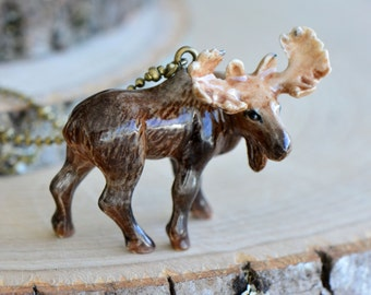 Hand Painted Porcelain Bull Moose Necklace, Antique Bronze Chain, Vintage Style Deer, Ceramic Animal Pendant & Chain (CA179)
