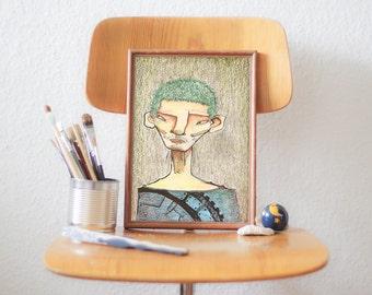 Pastel, Illustration, Portrait, Print, Wall Art, Wall Decor - THINKING PORTRAIT 6