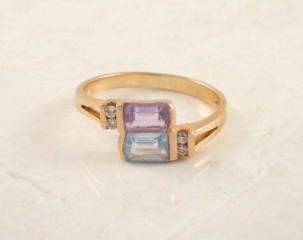 14K Yellow Gold Topaz, Amethyst, and Diamond Ring