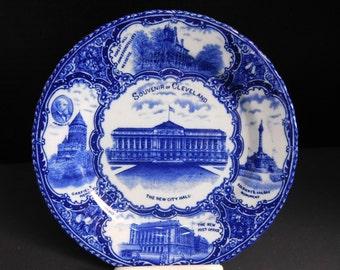 Cleveland Souvenir Flow Blue Historical Plate
