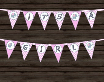 PINK Baby Shower Banner - Printable Baby Shower Banner - Baby Shower Banner - EDITABLE - GIRL - It's a girl