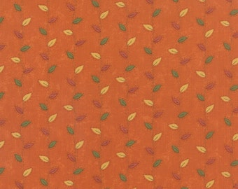 Perfectly Seasoned Yardage by Sandy Gervais for Moda Fabrics Orange Green Red Gold Leaves #17823-12 100% Cotton