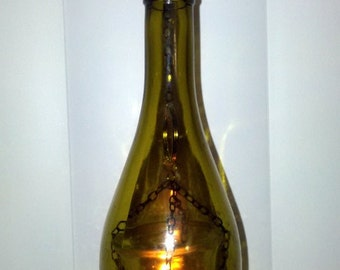Wine bottle hanging lantern
