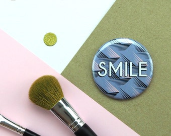 Compact Mirror with Geometric Print // Pocket Mirror // Round Mirror // Smile Mirror // Small Vanity Mirror // Gift for friend