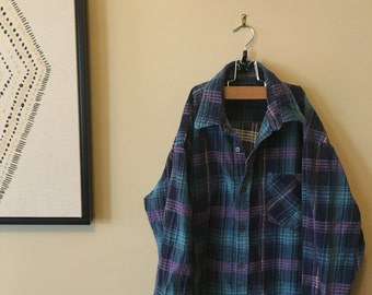 Purple, blue, and black flannel