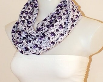 Flower infinity scarf Cotton loop scarf Women fashion accessories Gift for her Colorful scarf