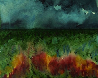 Stormy Weather, Nature, Abstract, Expressive Watercolor Watercolor Painting, Storm Clouds, Landscape Art, Contemporary, Wall Decor, Horizontal