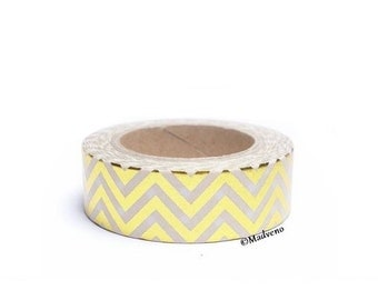 A masking tape 10 m / washi tape (adhesive tape) complete gold chevrons 1.5 cm x 10 m