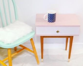 Pink bedside retro vintage tapered legs