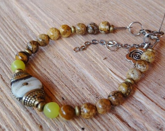 Nepalese conch shell and Jasper bracelet