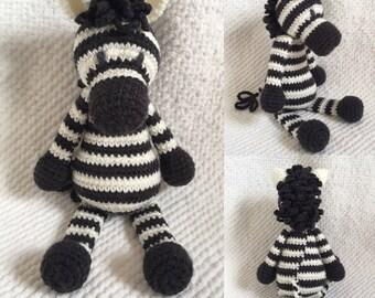 Zoe the Zebra - Handmade crochet stuffed animal