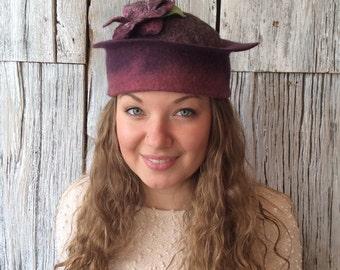 Felt hat, wet felted hat, plum hat, beanie, felt hat for women, felt flower - 'Plum Pudding'